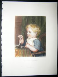 After Anker 1874 Hand Col Art Journal Print. The Little Architect, Children